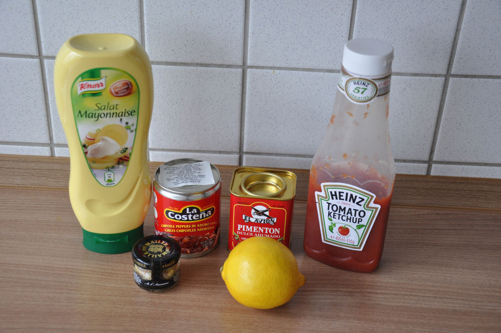 Zutaten für Mexican Southwest Sauce chipotle sauce-ChipotleSauce01-Chipotle Sauce für Burger und Sandwiches chipotle sauce-ChipotleSauce01-Chipotle Sauce für Burger und Sandwiches
