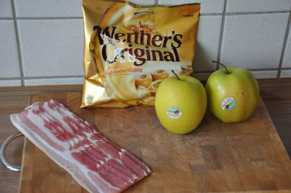 Zutaten für Apfel-Karamell Candy Bacon apple cream-candy bacon-AppleCreamCandyBacon01-Apple Cream-Candy Bacon – Süßer Apfel im Baconmantel