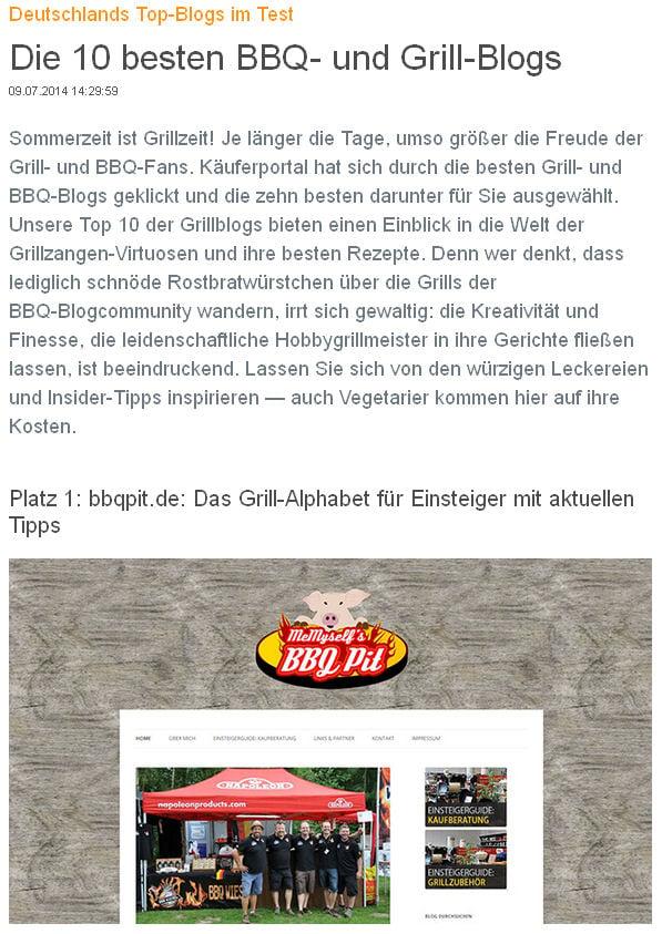 Deutschlands beste BBQ- und Grill-Blogs Deutschlands beste BBQ- und Grill-Blogs-TopBlog-Käuferportal.de kürt Deutschlands beste BBQ- und Grill-Blogs: Platz 1 für BBQPit.de