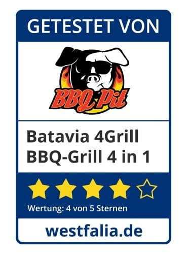 Batavia BBQ-Grill BBQPit-Testsiegel batavia bbq-grill-Westfalia Batavia BBQ Grill Testsiegel BBQPit-Batavia BBQ-Grill 4 in 1 im BBQPit-Test