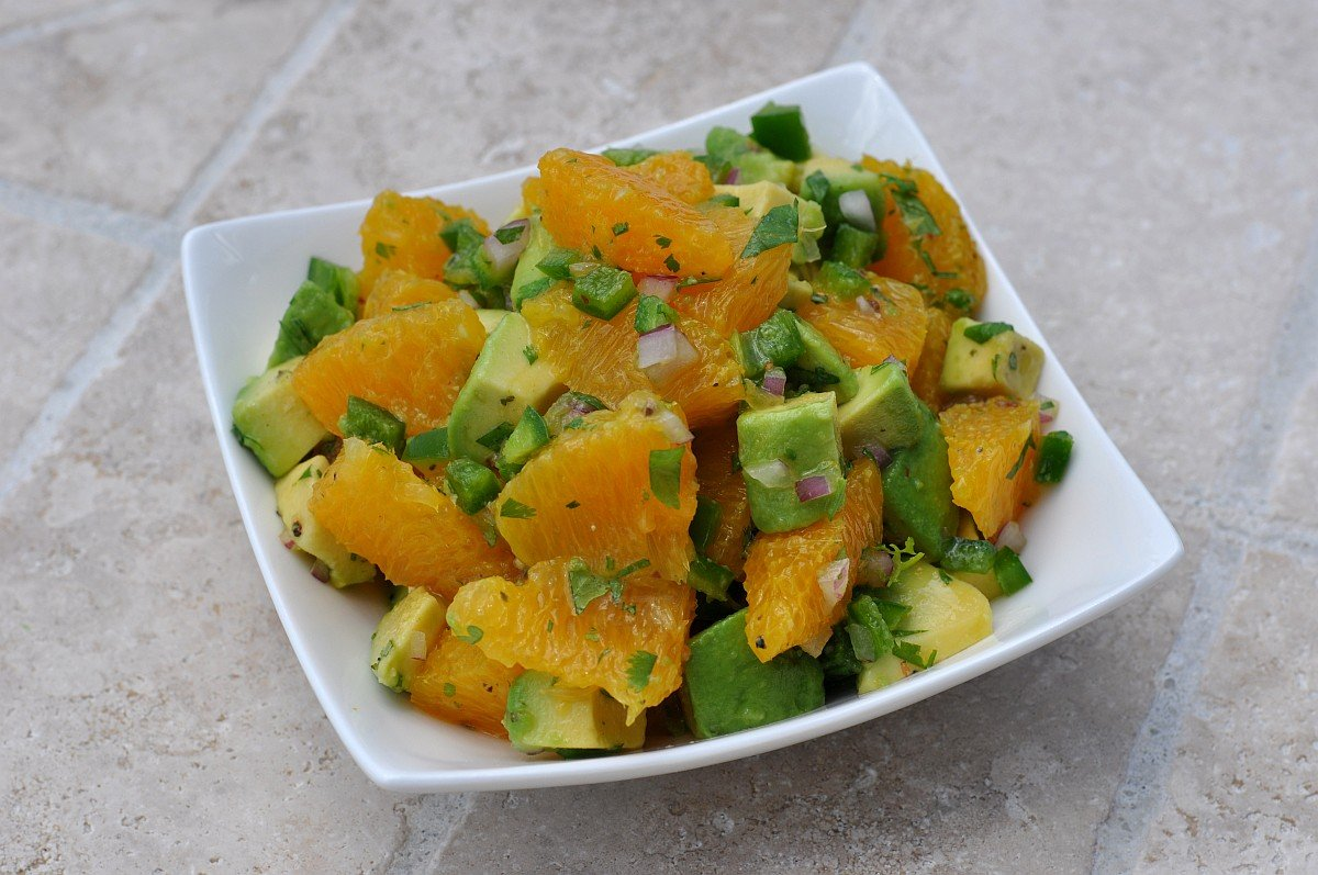 Fruchtige Salsa Orangen-Avocado-Salsa-Orangen Avocado Salsa-Fruchtige Orangen-Avocado-Salsa