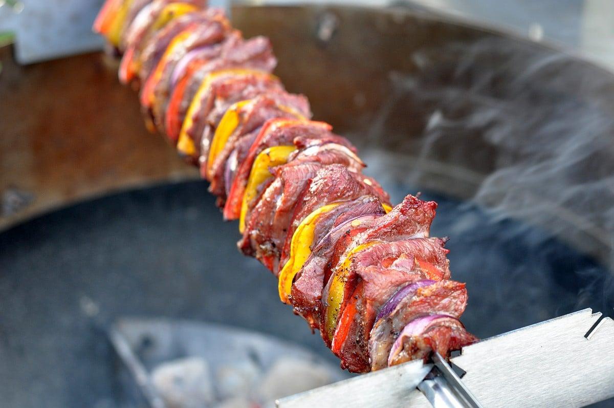 Churrasco Fleischspieß fleischspieß-Iberico Fleischspiess Paprika Zwiebel-Iberico Fleischspieß mit Paprika und Zwiebeln