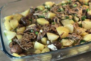 pulled pork auflauf-Pulled Pork Auflauf Kartoffeln Raclette Kaese 01 300x199-Pulled Pork Auflauf mit Kartoffeln und Raclette-Käse
