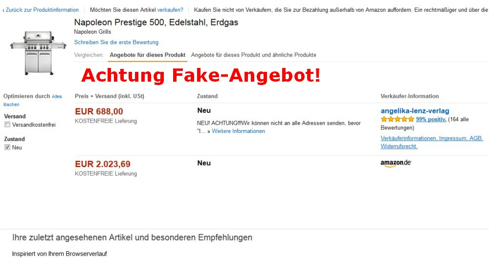 Warnung vor Fake-Angeboten bei Amazon fake-angeboten-Fake Angebote Amazon 01-Warnung vor Fake-Angeboten im Internet (z.B. Amazon)