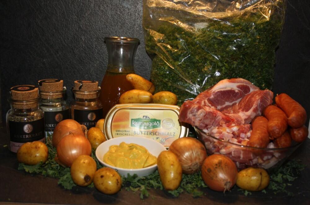 Grünkohl im Dutch Oven grünkohl aus dem dutch oven-Gruenkohl Dutch Oven Mettwurst Kartoffeln 01-Grünkohl aus dem Dutch Oven mit Mettwurst und Kartoffeln