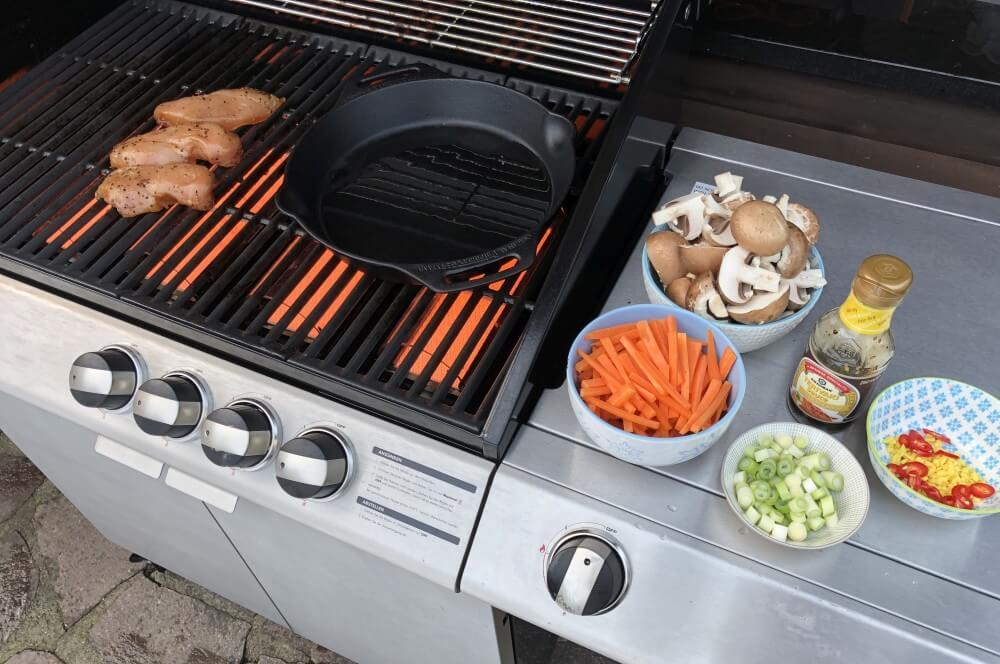 Ziegler & Brown chicken teriyaki-Chicken Teriyaki gebratenes Gemuese 04-Chicken Teriyaki auf gebratenem Gemüse