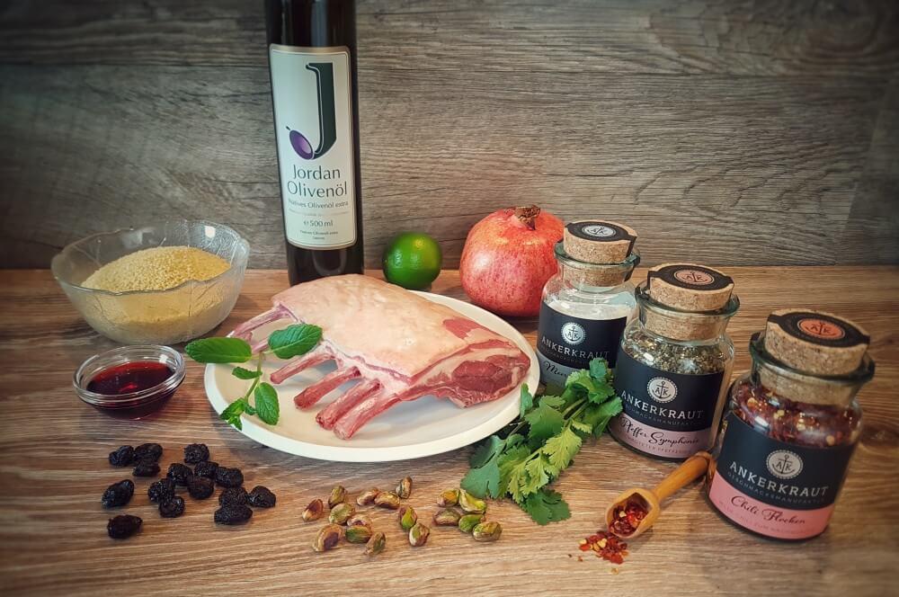 Alle Zutaten für die Lammkrone auf einen Blick lammkrone-Lammkrone mit Granatapfel Couscous 01-Lammkrone vom Grill mit Granatapfel-Couscous