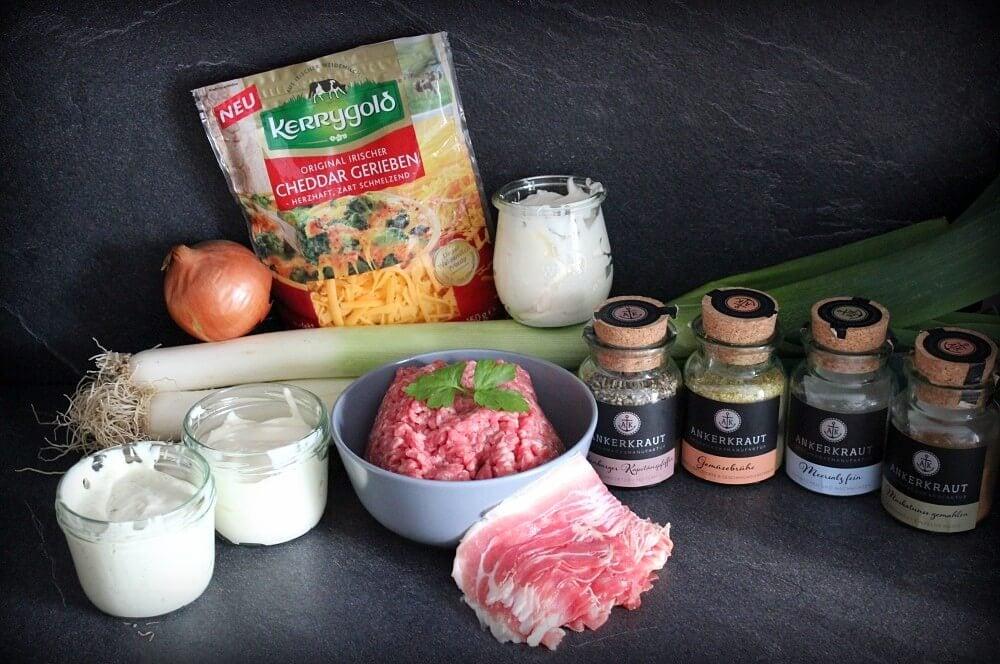 Zutaten Käsesuppe käsesuppe-Kaesesuppe Hackfleisch Lauch 01-Käsesuppe mit Hackfleisch und Lauch