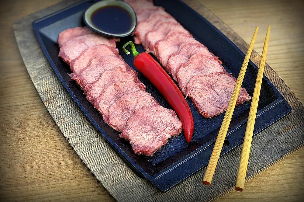 Die Zuitaten für gegrillte Rinderzunge auf einen Blick gegrillte rinderzunge-Gegrillte Rinderzunge Wagyu Gyutan 02-Gegrillte Rinderzunge – Wagyu Zunge asiatisch (Gyūtan)