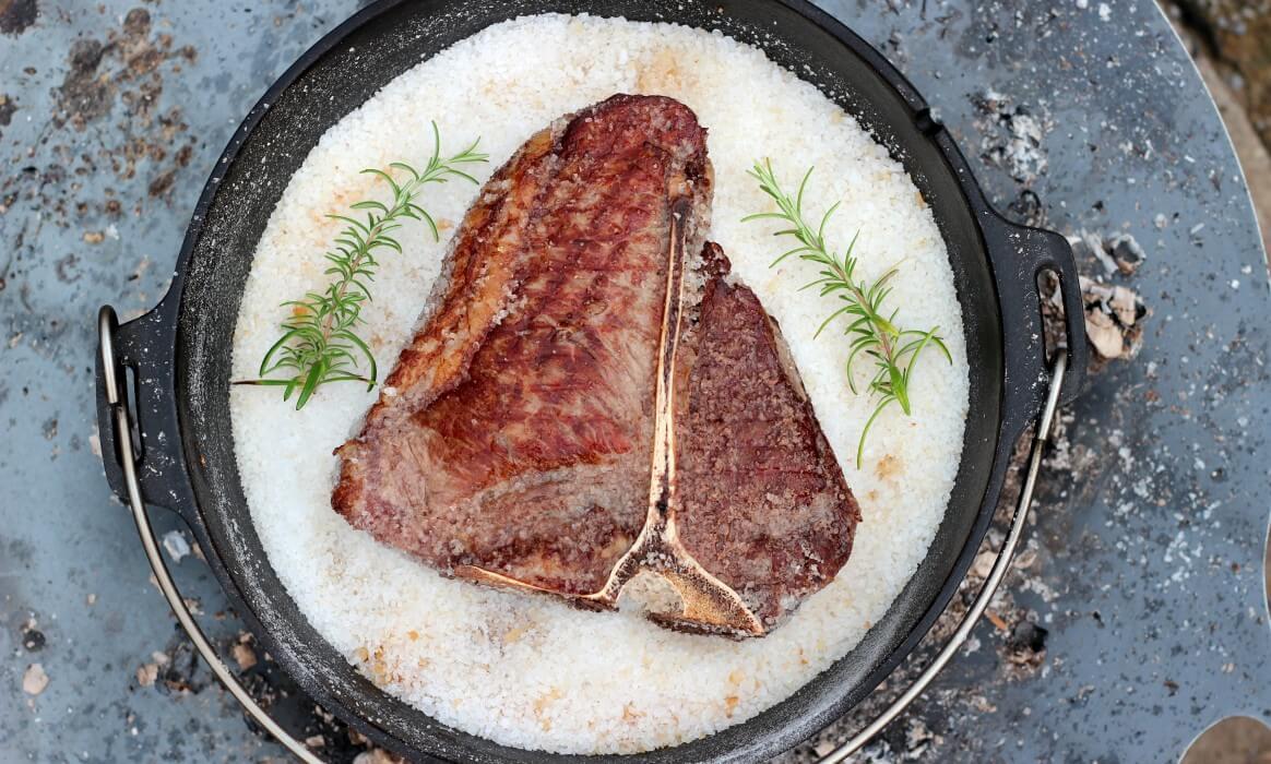Steak im Salzbett garen