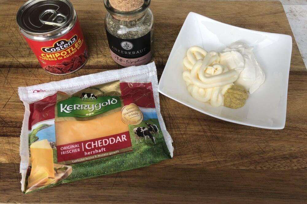 Zutaten für Pimento Cheese  pimento cheese-Pimento Cheese 01-Pimento Cheese – der Kaviar der Südstaaten