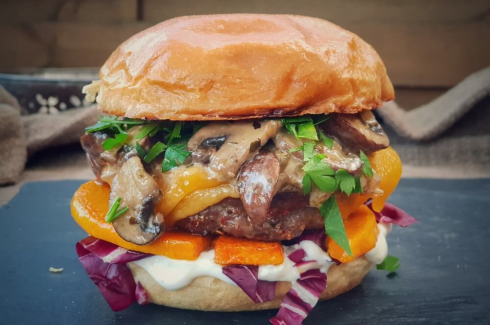 Kürbis-Burger mit Cheddar und Champignons kürbis-burger-Kuerbis Burger Cheddar Champignons 08-Kürbis-Burger mit Cheddar und Champignons