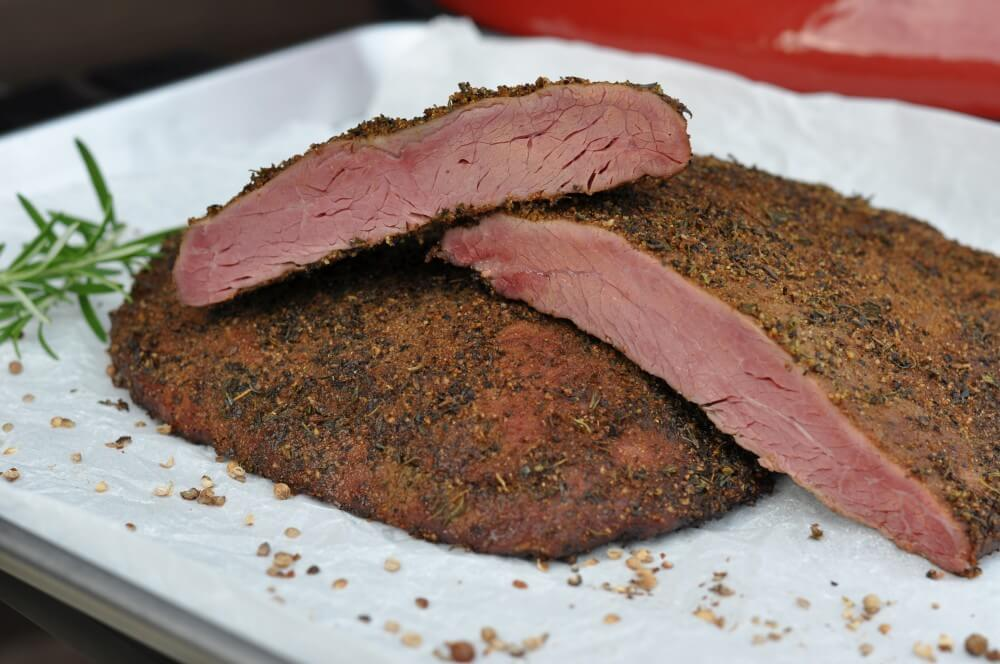Pastrami Flank Steak vom Kamado Joe pastrami flank steak-Pastrami Flank Steak 10-Pastrami Flank Steak