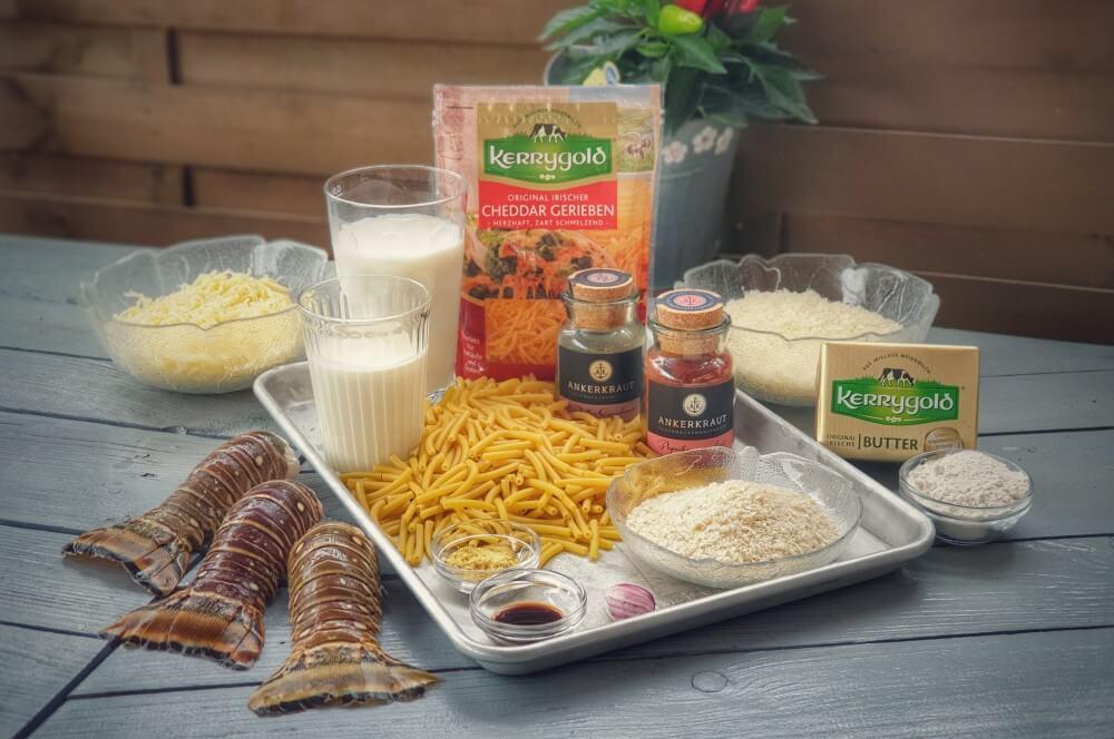 Alle Zutaten für Lobster Mac and Cheese auf einen Blick lobster mac and cheese-Lobster Mac and Cheese 01-Lobster Mac and Cheese – Käse-Makkaroni mit Languste