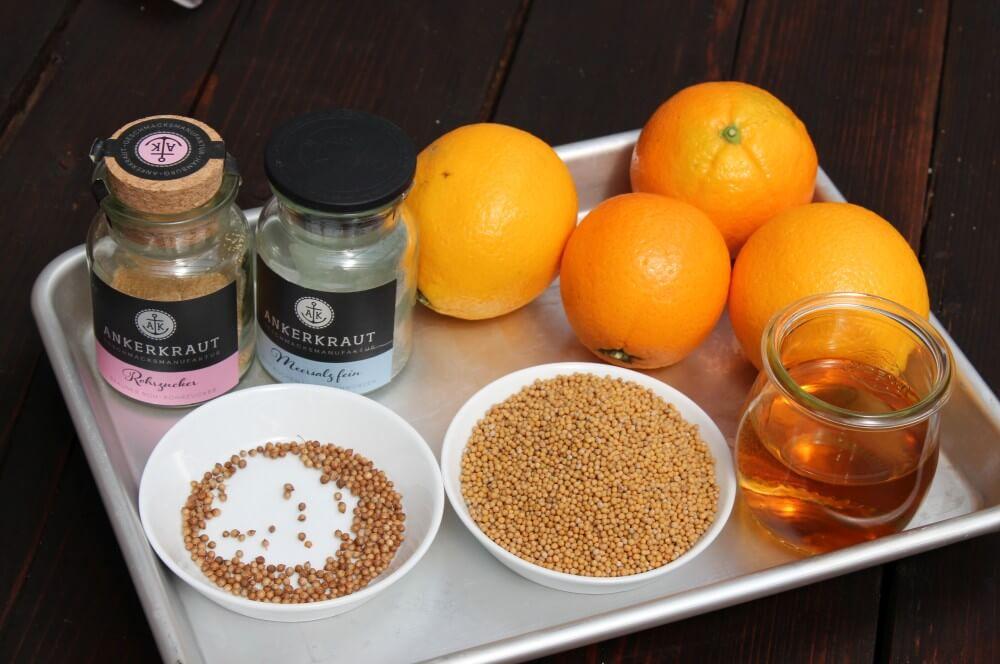 Alle Zutaten für Orangen-Senf auf einen Blick orangen-senf-Orangen Senf 01-Orangen-Senf – fruchtigen Senf mit Orangen selber machen