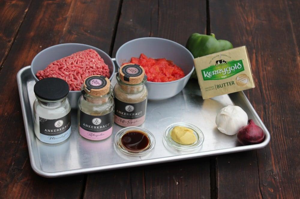 Alle Zutaten für Sloppy Joes auf einen Blick sloppy joes-Sloppy Joes Rezept Hackfleischsauce 01-Sloppy Joes – Rezept für die amerikanische Hackfleischsauce