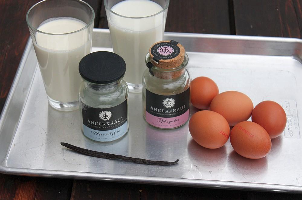 Alle Zutaten für Vanillesoße auf einen Blick vanillesoße-Vanillesosse selber machen 01-Vanillesoße selber machen