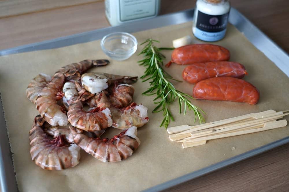 Alle Zutaten für Chorizo Garnelen auf einen Blick chorizo garnelen-Chorizo Garnelen Tapas 01-Chorizo Garnelen – ideales Tapas & Fingerfood Rezept
