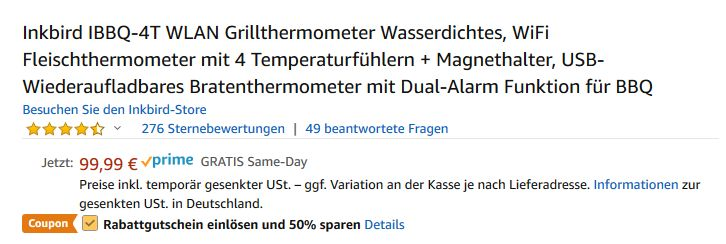 So wird der Rabatt aktiviert 50% rabatt auf inkbird-thermometer-Inkbird 50 Prozent Rabatt 03-Nur heute: 50% Rabatt auf Inkbird-Thermometer!