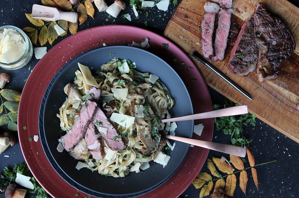 Pasta mit Pilzen und RibEye-Steak pasta mit pilzen-Pasta mit Pilzen RibEye Steak 08-Pasta mit Pilzen und RibEye-Steak