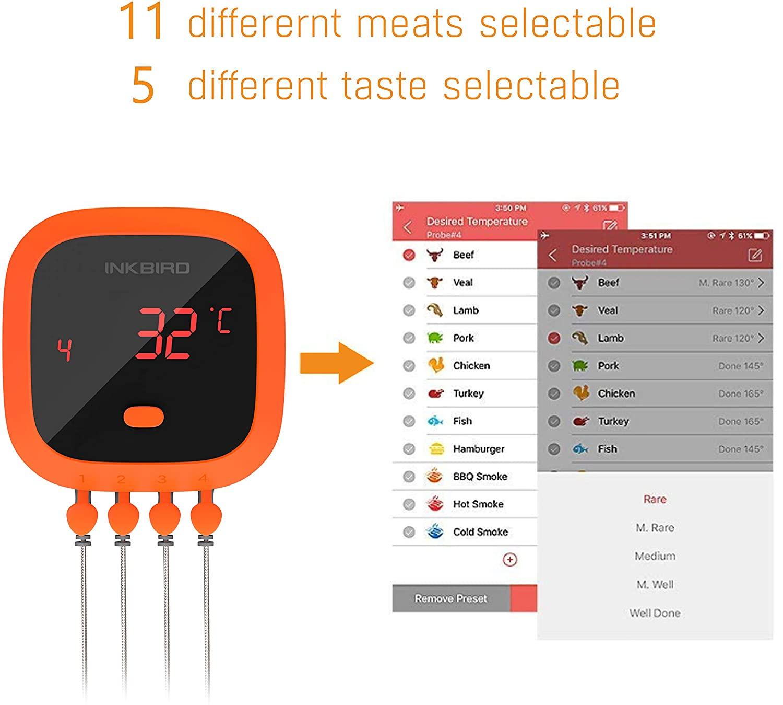 Das Thermometer wird über die BBQ Go App gesteuert inkbird ibt-4xc-Inkbird Grillthermometer IBT 4XC 02-Last Minute Weihnachtskracher: 50% Rabatt auf Inkbird IBT-4XC Grillthermometer