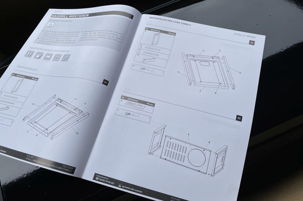 Dank der detaillierten Anleitung ist der Aufbau des Grills kein Problem aldi-grill-Aldi Grill Enders Boston Black Pro 6 SIKR Turbo II Gasgrill 03-ALDI-Grill: Enders Boston Black Pro 6 SIKR Turbo II für 579€ ab 25.03.
