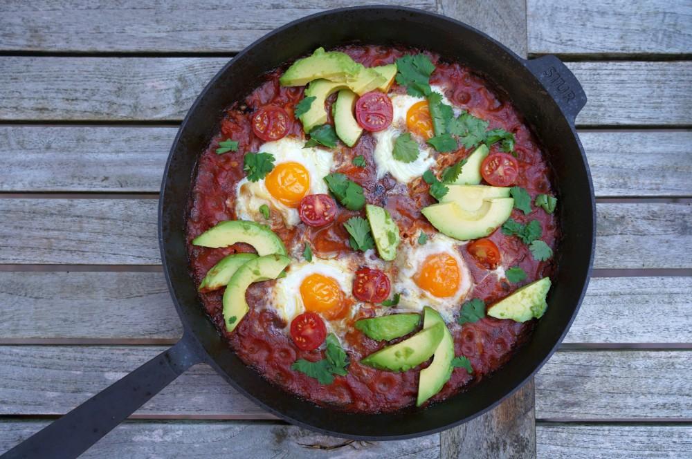 Huevos Rancheros mit Avocado und Koriander huevos rancheros-Huevos Rancheros 05-Huevos Rancheros – Rezept für das mexikanische Eier-Frühstück